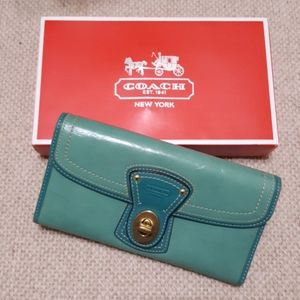 Coach Teal Two-toned Turnlock Trifold Long Wallet